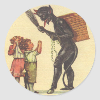 Pleading With Krampus Classic Round Sticker
