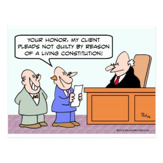 Pleads not guilty by reason of living constitution postcard
