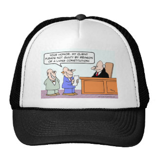 Pleads not guilty by reason of living constitution trucker hat