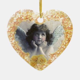Pleasance - Angel in a Yellow Heart Ceramic Ornament