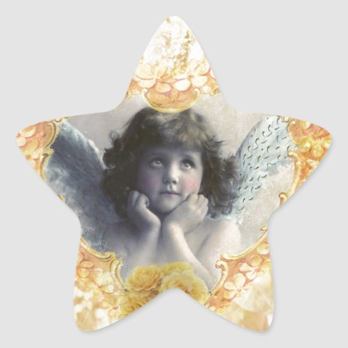 Pleasance _ Angel in a Yellow Heart Star Sticker