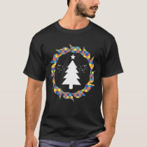 Pleasant Autism And Tree of Christmas Illustration T-Shirt