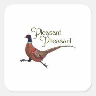 Pleasant Pheasant Square Sticker