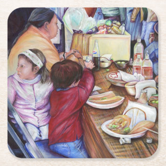 Pleasant Picnic, Mexico Square Paper Coaster