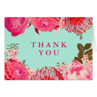 Pleasant Pink & Mint Floral Thank You Card
