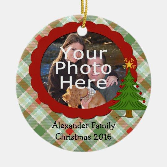 Pleasant Plaid Photo Christmas Ornament