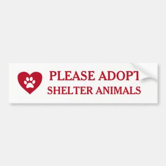 """""""Please Adopt Shelter Animals"""" Bumper Sticker"""