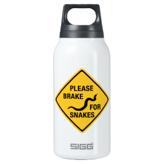 Please Brake For Snakes, Traffic Sign, Canada Insulated Water Bottle