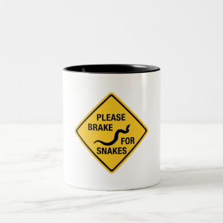 Please Brake For Snakes, Traffic Sign, Canada Two-Tone Coffee Mug