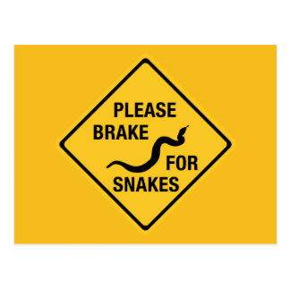 Please Brake For Snakes, Traffic Sign, Canada Postcard