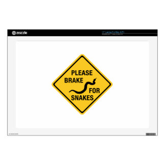 "Please Brake For Snakes, Traffic Sign, Canada 17"" Laptop Skin"
