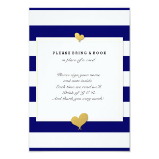 Please Bring A Book Baby Shower Navy Insert Card
