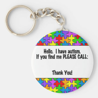 Please Call Autism ID Tag Basic Round Button Keychain