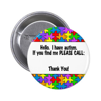 Please Call Autism ID Tag Buttons