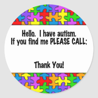 Please Call Autism ID Tag Classic Round Sticker
