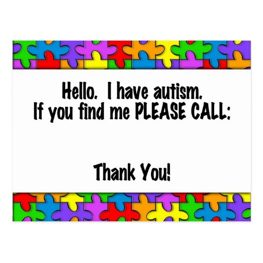 Please Call Autism ID Tag Post Cards