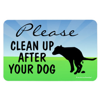 Please Clean Up After Your Dog Magnetic Sign Rectangular Photo Magnet