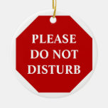 Please Do Not Disturb Door Hanger Double-Sided Ceramic Round Christmas Ornament