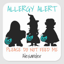 Please Do Not Feed Me Halloween Kids Allergy Alert Square Sticker