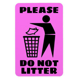 Please Do Not Litter Black and Purple Customized Magnet