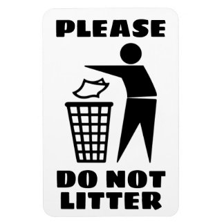 Please Do Not Litter Black and White Customized Magnet
