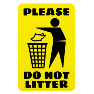 Please Do Not Litter Black and Yellow Customized Magnet