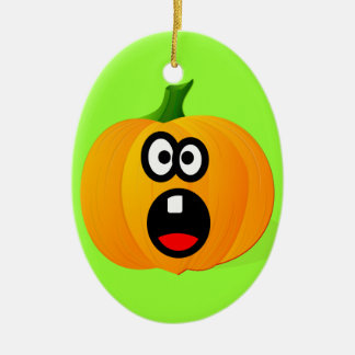 Please Don't Cut the Scared Halloween Pumpkin Ceramic Ornament