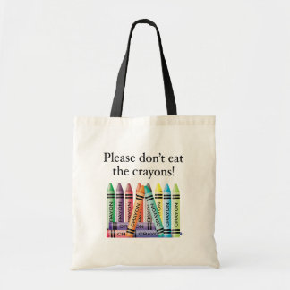 Please don't eat the crayons budget tote bag