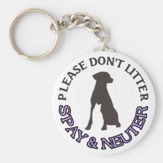 PLEASE DON'T LITTER, SPAY & NEUTER - DOG, CAT, PET BASIC ROUND BUTTON KEYCHAIN