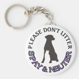 PLEASE DON'T LITTER, SPAY & NEUTER - DOG, CAT, PET KEYCHAIN