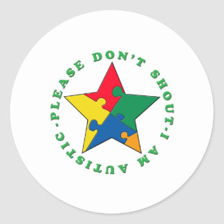 Please don't shout classic round sticker