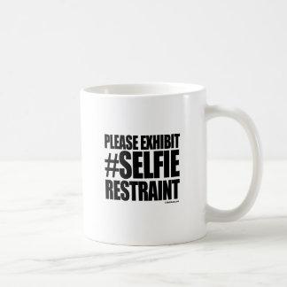 PLEASE EXHIBIT SELFIE RESTRAINT CLASSIC WHITE COFFEE MUG