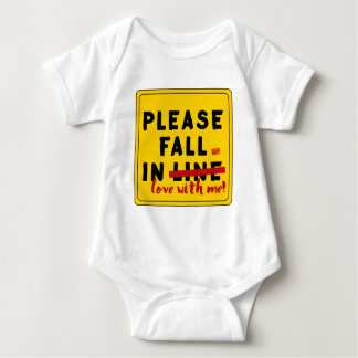 Please Fall In Love w/ Me Proposal Valentine's Day Baby Bodysuit