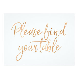 """Please find your table "" Stylish Gold Rose Sign Card"