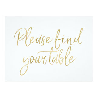 """Please find your table"" Stylish Gold Sign Card"