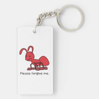 Please Forgive Me Crying Weeping Red Ant Mug Cap Rectangular Acrylic Key Chain