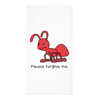 Please Forgive Me Crying Weeping Red Ant Pillow Photo Card