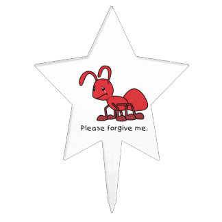 Please Forgive Me Crying Weeping Red Ant Plates Cake Picks