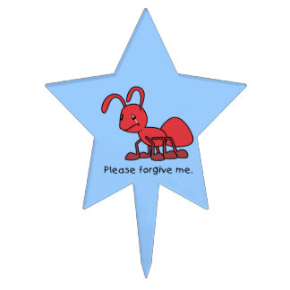 Please Forgive Me Crying Weeping Red Ant Plates Cake Pick