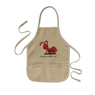 Please Forgive Me Crying Weeping Red Ant Plates Kids' Apron