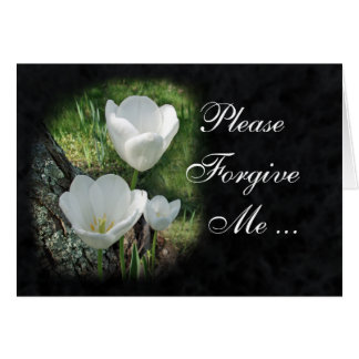 Please Forgive Me: White Tulips Flower Card