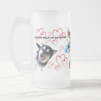 PLEASE HELP ASHLEY MILLER'S DOGS GO HOME 16 OZ FROSTED GLASS BEER MUG