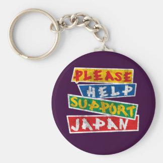 Please Help Support Japan Basic Round Button Keychain