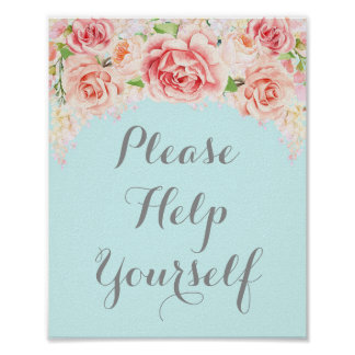Please Help Yourself Sign Pink Watercolor Blue
