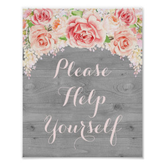 Please Help Yourself Sign Pink Watercolor Wood