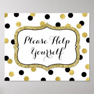 Please Help Yourself White Black Gold Confetti Poster
