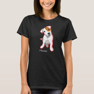 Please - Jack Russell Puppy Black T-shirt