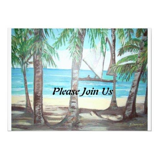 Please Join Us Invitation - Luquillo Beach Paintin