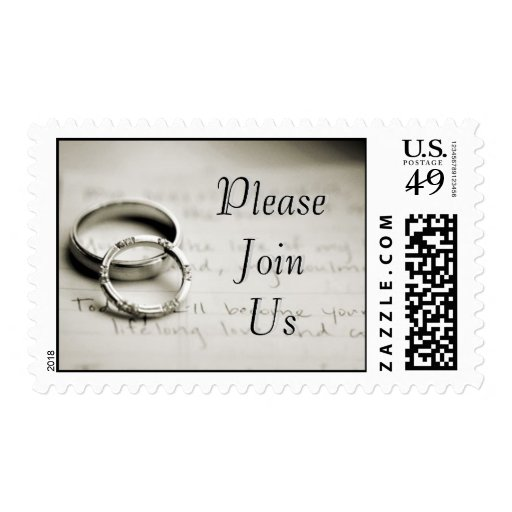 Please Join Us Silver Wedding Rings Postage Stamp