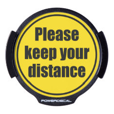 """""""Please keep your distance"""" traffic warning sign, LED Window Decal at Zazzle"""